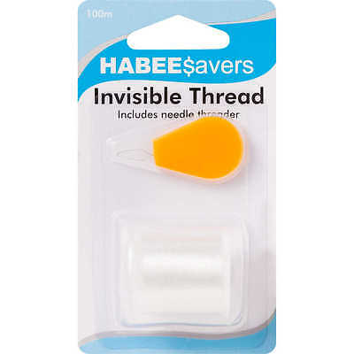2x HABEE$avers INVISIBLE THREADS 100m +Needle Threader, Blends With Any Fabric