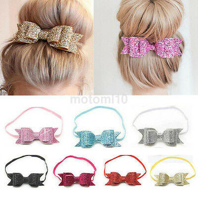 Baby Girl Hairband Bling Bowknot Flower Elastic Band Headband Photography Prop