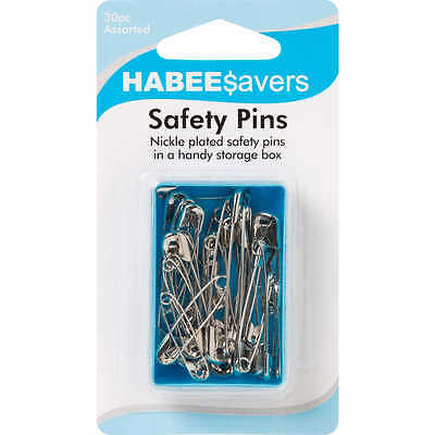 2x HABEE$avers ASSORTED SAFETY PINS 30Pieces Nickel Plated, Handy Storage Box