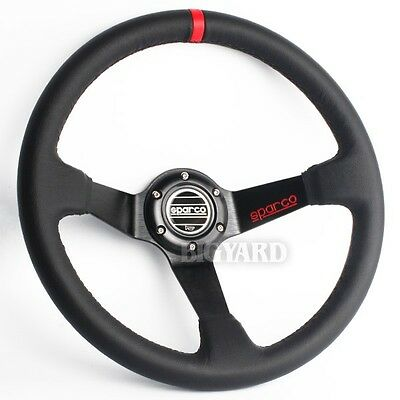 350mm Deep Dish Black Genuine Leather Sport Steering Wheel w SPARCO Horn Button