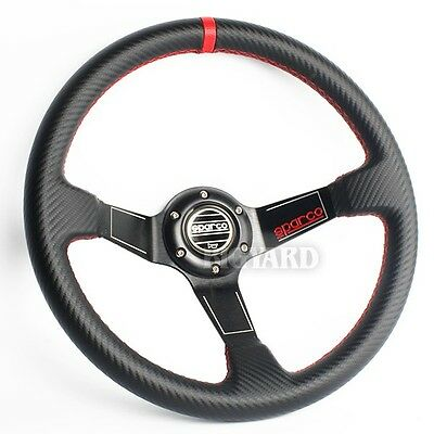 350mm Carbon Style Deep Dish Genuine Leather Steering Wheel w SPARCO Horn Button