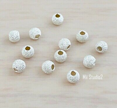 50x3mm Sterling Silver Stardust Seamless Round Bead Mini Spacer S13s