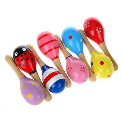 10 Colorful Wooden Maracas Baby Child Musical Instrument Rattle Shaker Party Toy