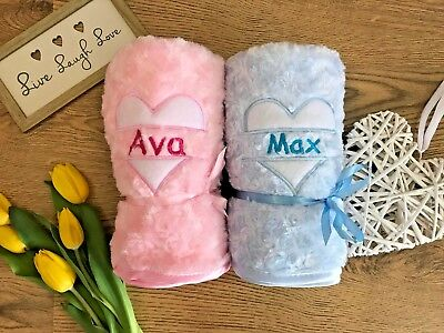 Personalised Baby Blanket Heart Embroidered Newborn Gift Or Baby Shower