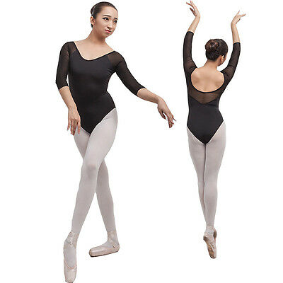 New Black  adult lady girl ballet dance 3/4 long mesh sleeved leotard - C058
