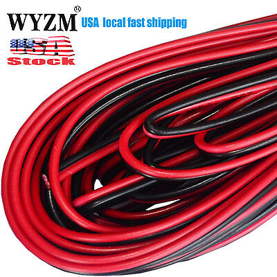 20m 66ft 20awg Gauce Black  Red Extension Cable Wire Cord for Led Strips Cars