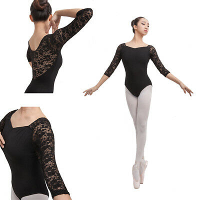 NEW Black Girl Woman Ballet Dance Leotard Gymnastic 3/4 Sleeve Cotton Lace-C065
