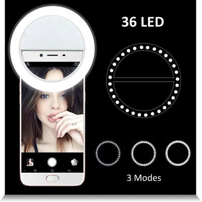 Selfie Portable LED Ring Fill Light Camera Photography for iPhone 7 Samsung S8+