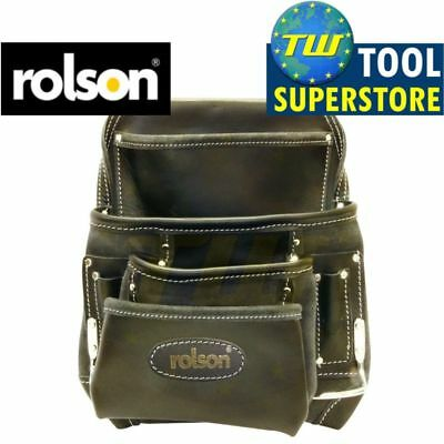 Rolson Heavy Duty 10 Pocket Black Leather Professional Hammer Nail Tool Pouch