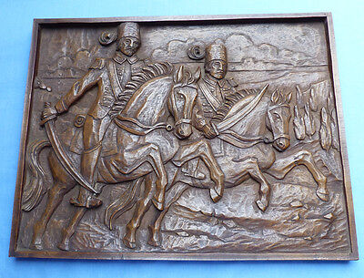 Original 19Th Century Carved Wooden Plaque - Hungarian Or Eastern Hussars