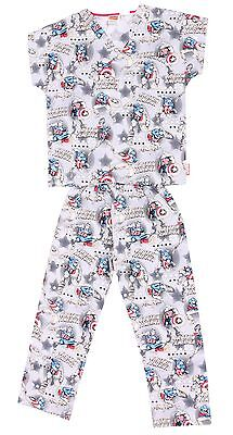 Marvel Kid's Boy's Cherokee Uniform Captain Comics Scrub Top Pants Pajama Set -L