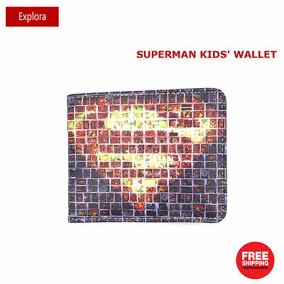 Boys Girls Kid Teenage Biofold Faux Leather Wallet Coin Section-DC Superman Logo