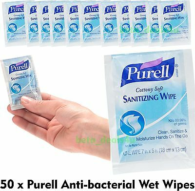 50 x PURELL WIPES - Anti Bacterial Hand Wet One Wrap Disinfectant Clean Hygienic