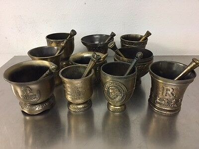 LOT OF 10 Brass Mortars & Pestles Sister Xavier Bicentennial 150th Morgan Stansl