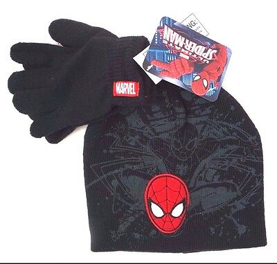 Boys Ultimate Spider-Man Beanie Cap Hat Glove Combo NEW 2 Piece Cold Weather Set
