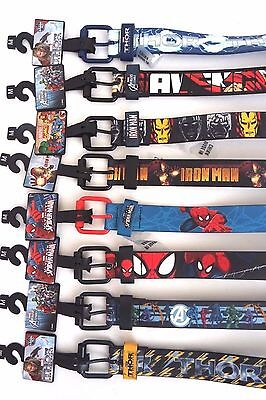 Marvel Avengers Spiderman Ironman Thor Boy's Faux Leather Black Belt Medium NWT