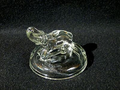 "Pressed glass elephant, Jeanette, lid only, clear,about 3 1/8"" tall to trunk tip"