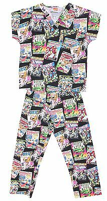Kid's Boy's Cherokee Uniform Retro Marvel Comics scrub top pants Pajama Set L