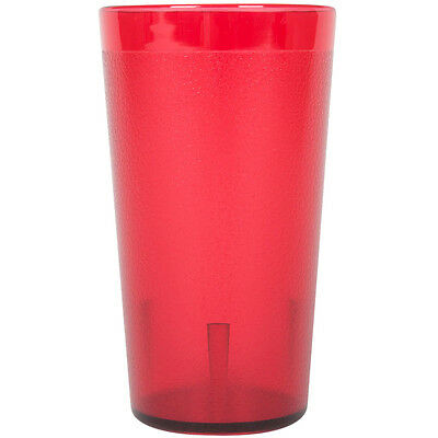 12 Oz Red Pebbled Plastic Tumbler Commercial Restaurant Cup Glass Case 96 PACK