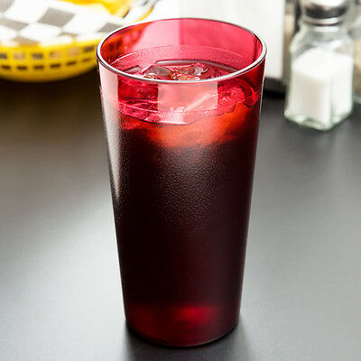 48 PACK 20 Oz Red Pebbled Plastic Tumbler Commercial Restaurant Cup Glass Case
