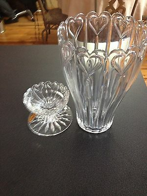 """New in Box- 2 Piece """"Block"""" 24% Lead Crystal Hurricane Candle Holder"""