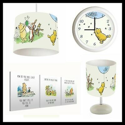 Classic Winnie The Pooh - Bedroom Set Lampshade, Lamp, Clock, Canvas Prints