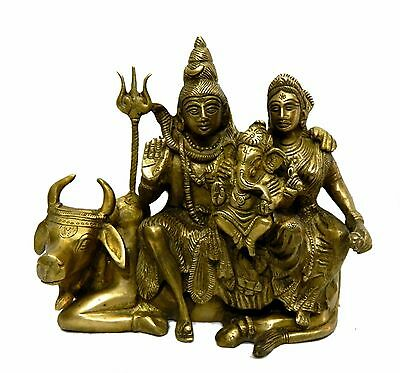 Idol Of  Shiv Family Sitting On Nandi Handicrafts Product By Bharat Haat™BH0409