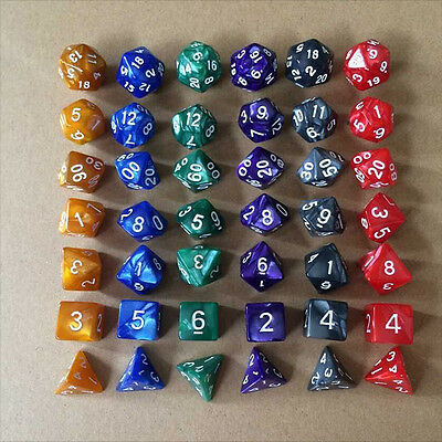 42x Polyhedral Party Game Dices  = 6 Complete Sets of 7 RPG D&D Pathfinder Dice