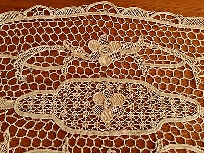 "ANTIQUE Italian Point de Venice Lace Tablecloth Ivory Oval 31,5""x13"" Handmade"