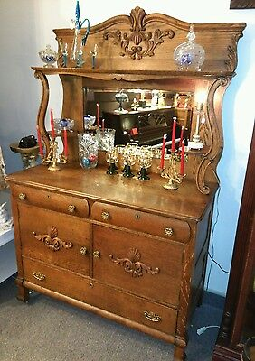 Antique Oak Sideboard Server Buffet