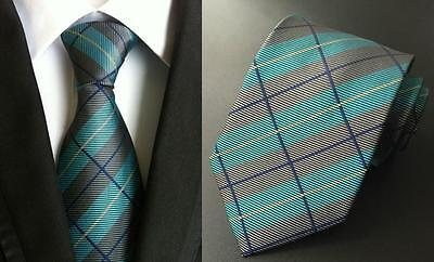 Green, Grey and Blue Patterned Handmade 100% Silk Tie