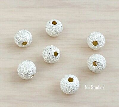 30x 4mm Sterling silver Stardust seamless round bead spacer S14s