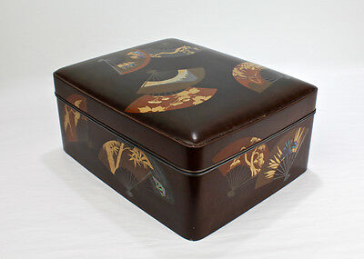 Antique Meiji Period Japanese Lacquer Box w Gold Silver & Inlaid Abalone - VR