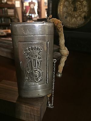 Antique Tabasco Case,Silver Monogram Case Unique 1894.
