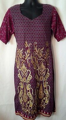 Womens Indian 100% Cotton Kurta Kurti Tunic Size M Purple Pakistani Long Top LHM