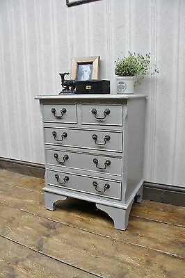 Bedside Chest Drawers Hand Painted Reproduction, Pale grey, shabby chic