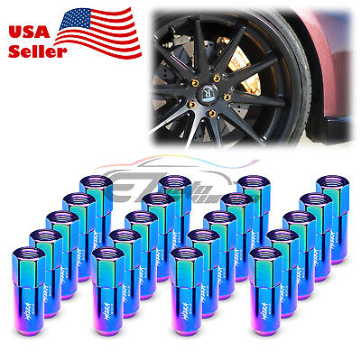 Neo Chrome 20 PCS M12X1.25 Lug Nuts Extended Tuner Aluminum Wheels Rims Cap WN02