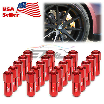 Red 20 PCS M12X1.25 Lug Nuts Extended Tuner Aluminum Wheels Rims Cap WN02