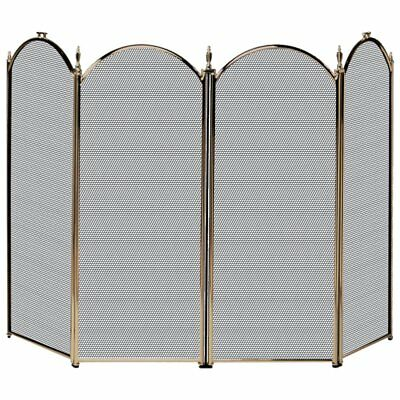 Uniflame 4 Panel Triple-Plated Folding Fireplace Screen
