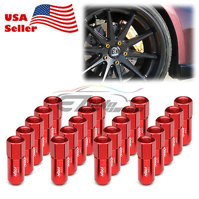 Red 20 PCS M12X1.5mm Lug Nuts Extended Tuner Aluminum Wheels Rims Cap WN02