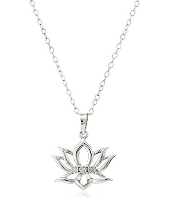 DiAura Sterling Silver Diamond-Accent Lotus Flower Pendant Necklace 18""