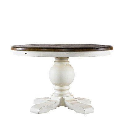 """48"""" L Hailey Dining Table solid oak base hand turned pedestal black finish paint"""
