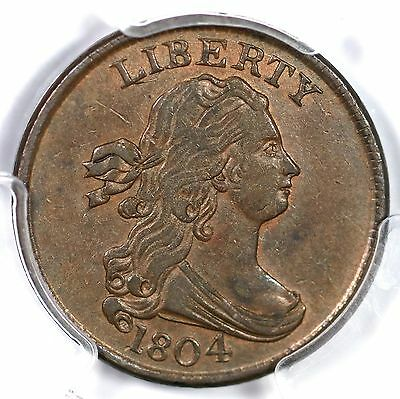 1804 C-1 R-3 PCGS AU 55 Crosslet 4 Stems Draped Bust Half Cent Coin 1/2c