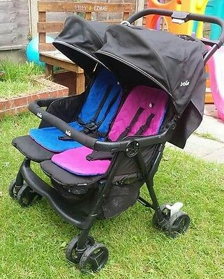 joie aire twin pink blue pushchairs double seat stroller picclick uk. Black Bedroom Furniture Sets. Home Design Ideas