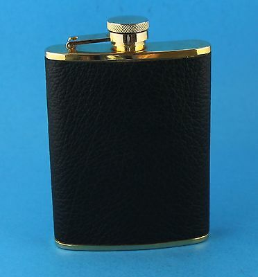 VINTAGE COMOYS OF LONDON GOLD TONE STAINLESS STEEL LEATHER BOUND 6 oz FLASK