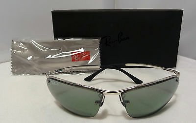 Ray Ban Rectangular Silver Frame Polarized Grey Chromance Lens Rb 3544 003/5L