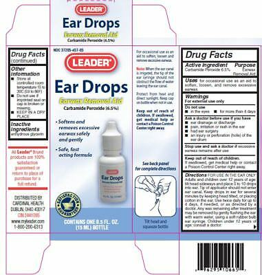 Leader Ear Wax Remover Drops, 15ml, 3 Pack 023558076501S217