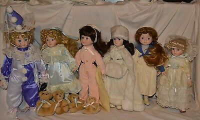 HUGE VINTAGE HOUSE OF LLOYD Porcelain Doll Lot Goldilocks Clown Princess RARE