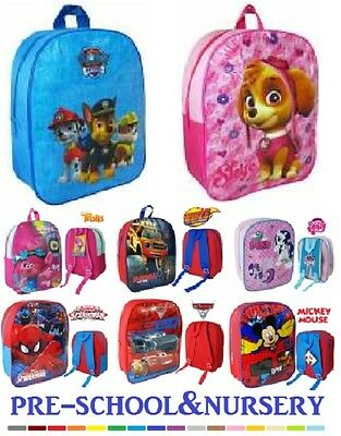 Disney Nursery Pre-School Backpack Boys Girls Frozen Mickey Paw Patrol Bag New