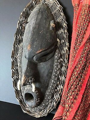 Old Western New Guinea Irian Jaya Carved Mask with Trade Bracelet …beautiful col
